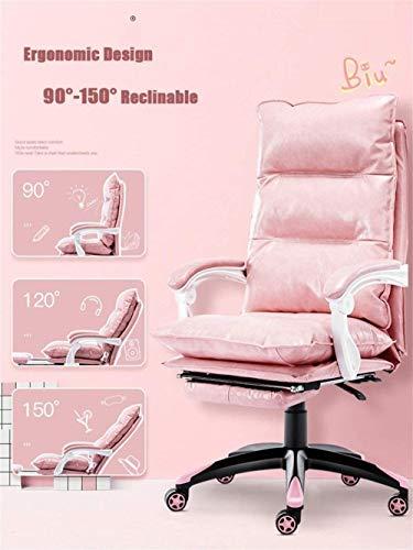 Stolar förtjusande rosa datorstol för flickor hem kontor skrivbord stol E-sport spelstol bundet läder svängbar stol knästol