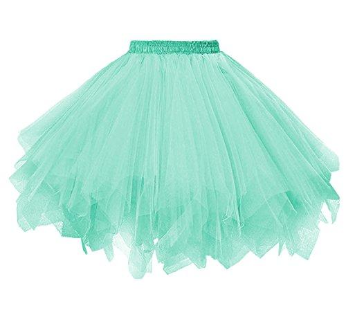 (Dressever Vintage 1950s Short Tulle Petticoat Ballet Bubble Tutu Mint)