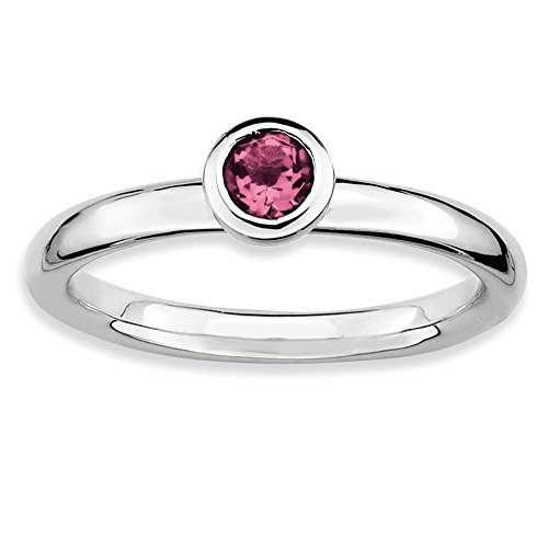 - Size 9 - Solid 925 Sterling Silver Stackable Expressions Low 4mm Round Pink Simulated Tourmaline Ring