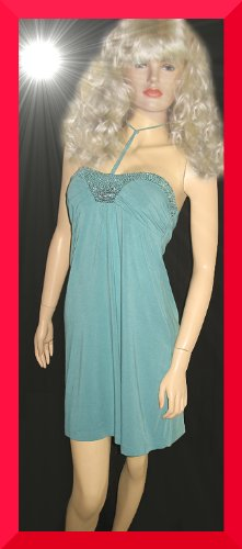 New Victoria's Secret $88 Teal Sequin Babydoll Dress Size Small