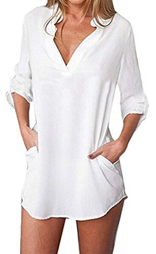 Bluse Elegante Moda Donna Tops Primaverile Estivi Chiffon Manica Lunga V-Neck Stampate Pattern Ragazza Button Bendare Casual Basic Camicie Unico Moda Giovane Shirt