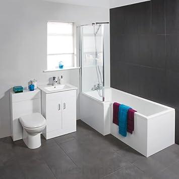 Trueshopping Badezimmerschrank, Modern, Rechteckig, Für Badezimmer Bad WC  Mit Waschbecken, Unterschrank,