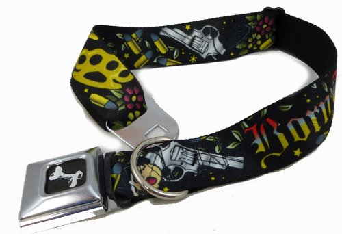 """Black Born To Raise Hell Weapons Seat Belt Buckle Dog Collars 1"""" x 15-26"""""""