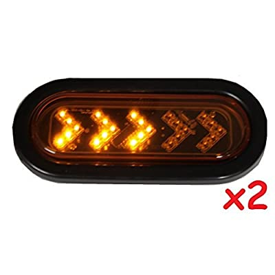"Radiant 2 Amber Sequential Oval LED Light Sealed 6 7/16"" Oblong Arrow Turn Signal Kit with Grommet Plug Truck Trailer RV 35101-1AK: Automotive"