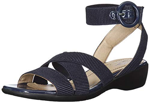 LifeStride Women's Temple Flat Sandal Navy 8.5 M US