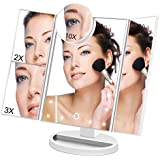 Makeup Vanity Cosmetic Mirror 21 LED Lights, LED Lighted Table Makeup Mirror Touch Screen, Portable Travel Cosmetic Mirror 3X/2X Magnification Detachable (White)