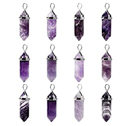 Yivshine Quartz Stones Pendant Wholesale 12pcs Natural Crystal Healing Point Chakra Reiki Pendants For Necklace Earrings Bracelet Jewelry Making(amethyst)
