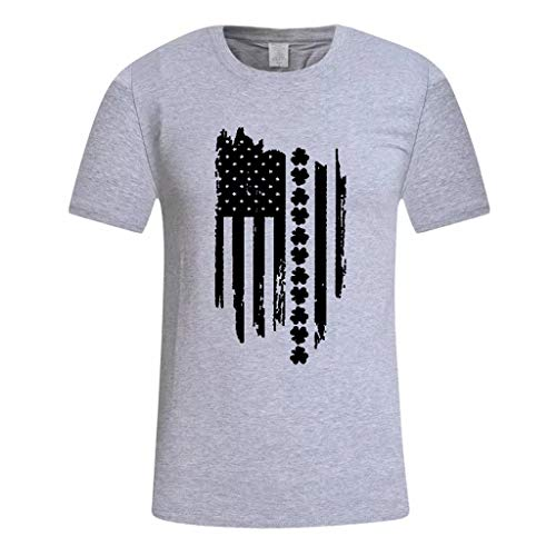 - Clothful ? Independence Day Clothing, Men's Summer USA Flag Print Round Neck Slim Fit Short Sleeve Top Shirt Blouse Gray