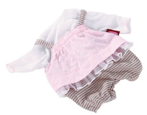 Gotz Pink/Gray Stripe Romper Jumper with Pink Overlay and White T-Shirt for 16.5