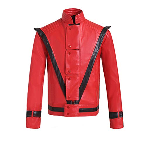 Gn2u Michael Jackson Jacket Thriller Billie Jean PU Leather Jackets Mens Red Zipper Suits Dance Costumes (M)]()