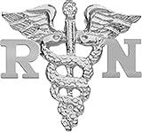 NursingPin - Registered Nurse RN Diamond Nursing Graduation Pin in Silver