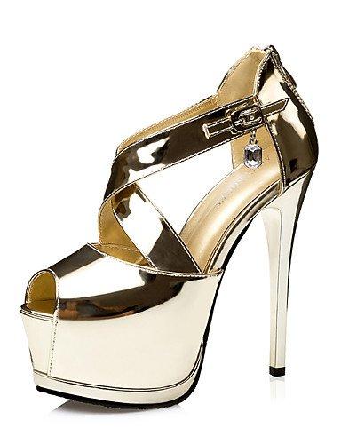 GGX/ Damen-High Heels-Kleid / Lässig / Party & Festivität-Lackleder-Stöckelabsatz-Absätze / Zehenfrei / Plateau / Sandalen-Schwarz / Silber / golden-us6 / eu36 / uk4 / cn36