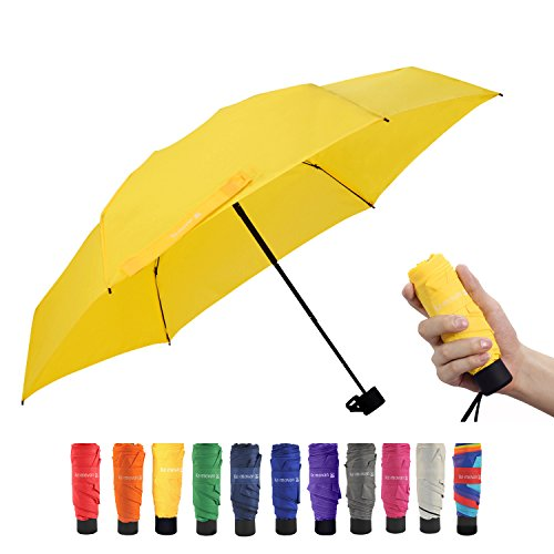 Travel Compact Umbrella Small Mini Umbrella for Backpack, Purse, Pocket - Fits Adults & Kids(Yellow)