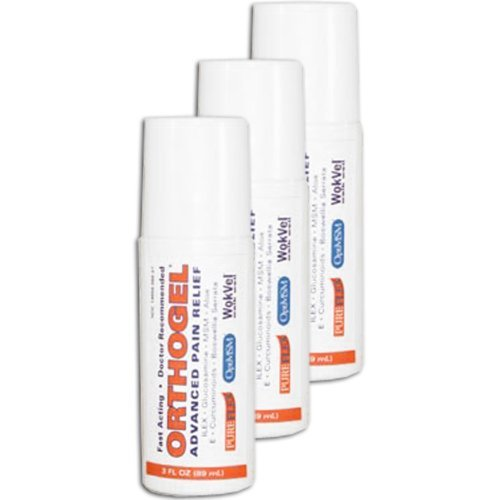 Orthogel Advanced Cold Therapy Pain Relief Gel- THREE- 3 oz.Roll On by Orthogel