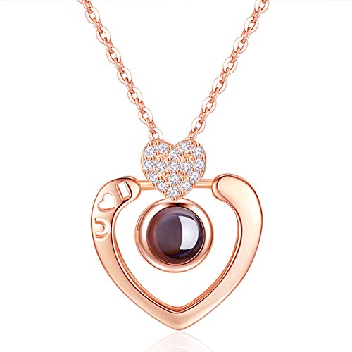 GulCean I Love You Necklace 100 Languages Rose Gold Heart with Gift Box Chic Hollow I ❤ U Engraved Projection Pendant Necklace That Projects I Love You in 100 Different Languages Ways Cute Sweet Gift