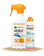 Garnier Delial Kit de Protección Solar Niños: Spray IP50+ y Bruma Solar Anti Arena IP50+ - Spray 300 ml, Bruma Solar 200 ml