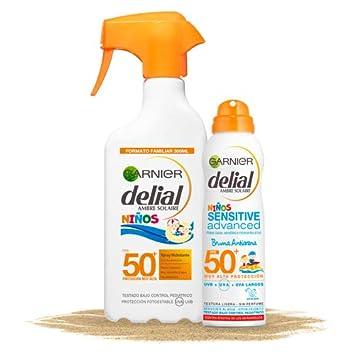 Garnier Delial Kit de Protección Solar Niños: Spray IP50+ y Bruma Solar Anti Arena IP50+ - Spray 300 ml, Bruma Solar 200 ml