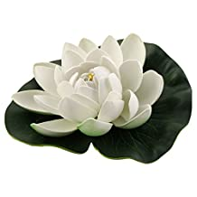 uxcell® Foam Aquarium Fish Tank Artificial Floating Lotus Flower Decor Ornament Green White