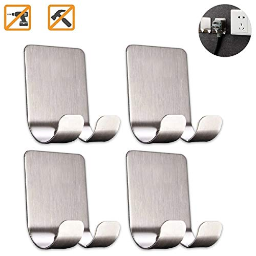 Jacket Key (Bariicare Adhesive Wall Hooks Stainless Steel Ultra Strong Waterproof Oilproof Hanging for Robe Coat Towel Robe Handbag Jackets Keys (4pcs))