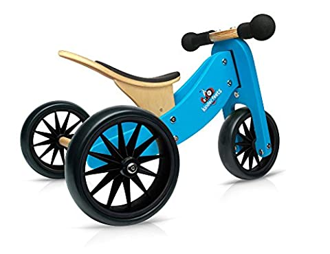 Kinderfeets TinyTot Wooden Balance Bike and Tricycle, Convertible No Pedal Balance Trike for Kids and Push Bike, Blue - 2 in (1 2 Inch Kids Pedals)