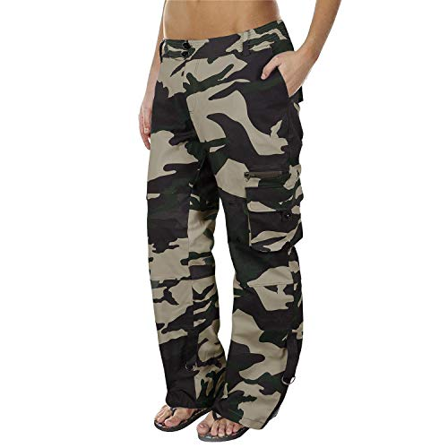 Lynwitkui Womens Casual Cargo Jogger Pants Active Military Army Style Mid Waisted Trousers with Pockets (XX Large