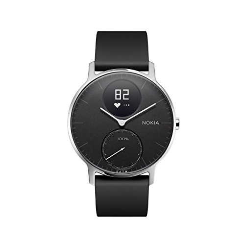 Nokia Steel HR Hybrid Smartwatch – Heart Rate & Activity Tracking Watch, Black, 36mm, up to 25 Days long-lasting Battery Life, Swim Proof with Soft Silicone Interchangeable - Warehouse Tracking