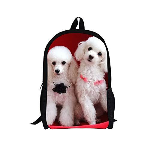 - Tupalatus Preppy Schoolbag Poodle Puppy Dog Printing Kids School Backpack for Girls Lightweight Canvas Bookbags Shoulder Bag Slim Business Backpack of 17 Inches
