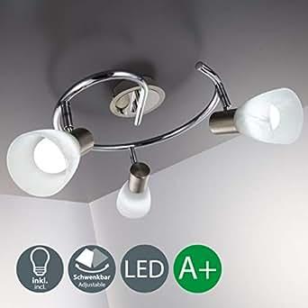 Lámpara de techo con focos giratorios incl. 3 x 5,5W LED bombillas, 230V, IP20, Color cromo, Lampara de metal y cristal, luz blanca cálida 3000K, Foco de salón moderna