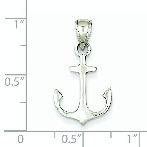 Or blanc poli 14 carats-Pendentif ancre JewelryWeb