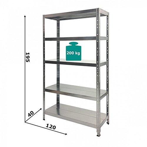 GRIMA - SCAFFALE Alta Portata in metallo ZINCATO 120 X 40 X 195h Portata 1.000 Kg