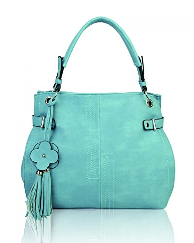 LeahWard? Women's Shoulder Bags Faux Leather Tote Handbags Soft Bag For Her CW16001 Quay Blue Charm Bag