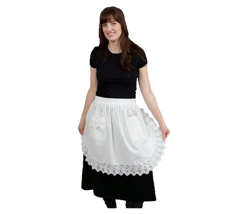 Vintage Aprons, Retro Aprons, Old Fashioned Aprons & Patterns Maid Costume Ladies Half White Apron with Pockets $29.99 AT vintagedancer.com