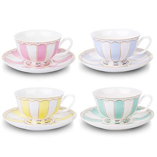 AWHOME Vintage Ceramic Teacup and Saucer Set 7 oz (Yellow Green Pink Blue) (Saucer Teacup Footed)