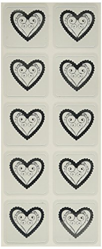 (Ruby Rock-It Wedding Foiled Seals, Hearts/Silver, 20-Pack)