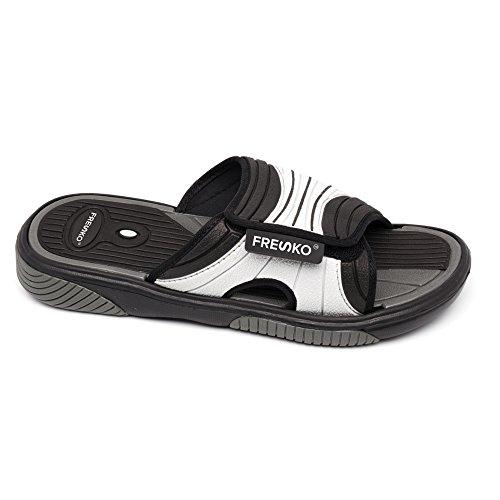 Sandales À Glissière Fresko Pour Homme, M1060 Noir / Gris