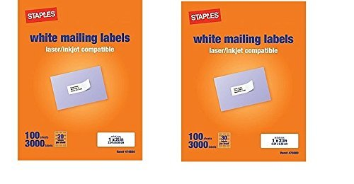 image relating to Printable Stickers Staples identify Staples White Mailing Labels for Laser Printers, 1 x 2.62 Inch, 100 Sheets, 3000 Labels