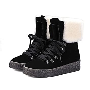 decf022ee42 Wetvc Shoes Nappa Leather Ankle Boots Winter Snow Boots Boots Flat Heel  Booties for Normal Black