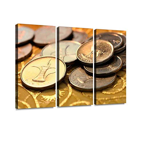 Coins of UAE Print On Canvas Wall Artwork Modern Photography for sale  Delivered anywhere in USA