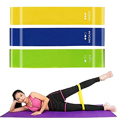 Fine Resistance Loop Bands Natural Latex Exercise Loop Bands Yoga Pilates Rehab A Exercise Bands with 3 Different Resistance Levels for Home Gym Workout and Physical Therapy