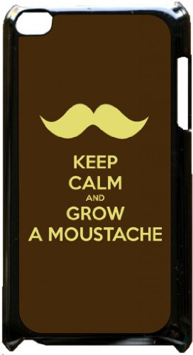 Keep Calm and Grow a Mustache - Black plastic snap on case - for the Apple iPod iTouch 4th Generation.