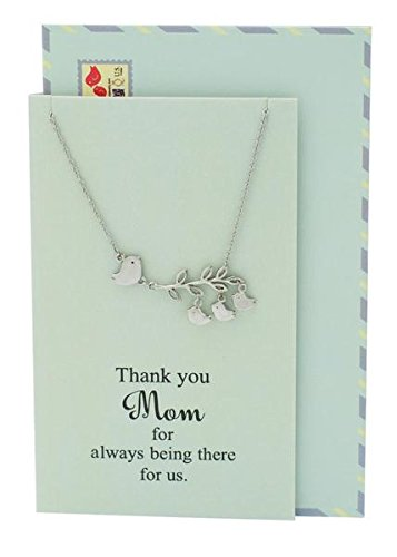 Quan Jewelry Mom Daughter Necklace 3 Birds Pendant Presents For Mama Grandma Stepmom