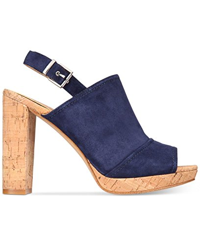 INC International Concepts Womens Tangia Leather Open Toe Ankle Strap Platfor. Blue/Indigo