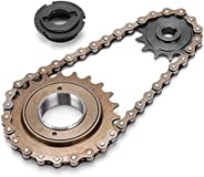 Bike Sprocket Chain Kit, 13T Tooth Sprocket+38 Links Chain+ 22T Rear Freewheel Set Bicycle Accessory