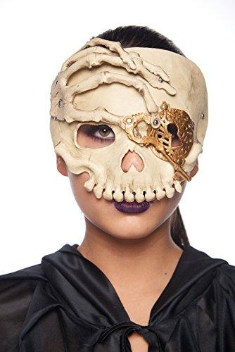 Skull & Skeleton Hand Masquerade Mask (Unisex; One Size Fits Most; Gold)