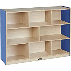 """ECR4Kids Colorful Essentials 8-Compartment Storage Cabinet, Maple and Blue, 36"""" H"""