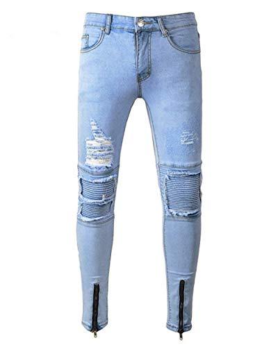 Vaqueros Fit Pantalones Slim Pantalones De Blau Moda del Mezclilla De Mezclilla Retro De Pantalones Motorista De Pantalones Hombres Destruidos Pantalones Los Vaqueros Motorista Los De Destruidos del dxYHgZq0w