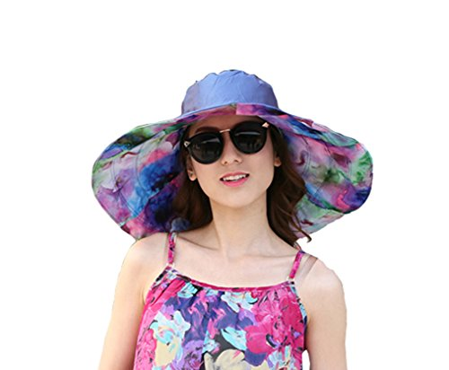 JGJ Womens Sun Hat Reversible Summer Beach Hat UPF 50+ Foldable Wide Brim Floppy Sun Cap (Floppy Reversible Sun Hat)