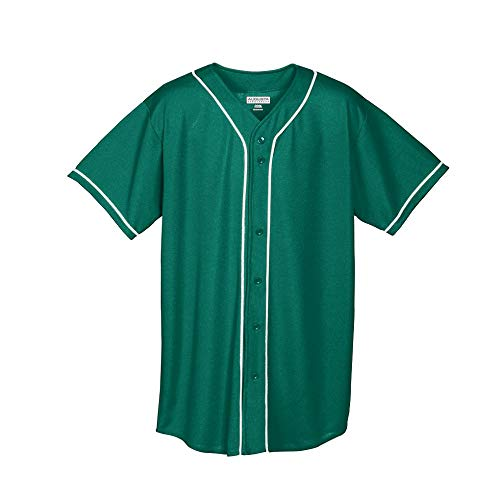Augusta Sportswear Men's Wicking MESH Button Front Baseball Jersey with Braid Trim S Dark Green/White