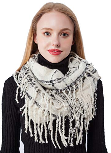 Thick White Plaid Tassel Infinity Scarf Knit Tartan Infinity Circle Loop Scarves (X4-WT)