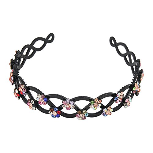 Yeshan Criss Cross Design Rhinestone and Crystal Strong Plastic Headband,Hairband for Women,Multicolors